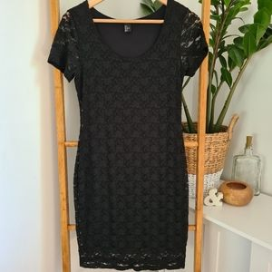 H&M Black Fitted Lace Dress Size US Small